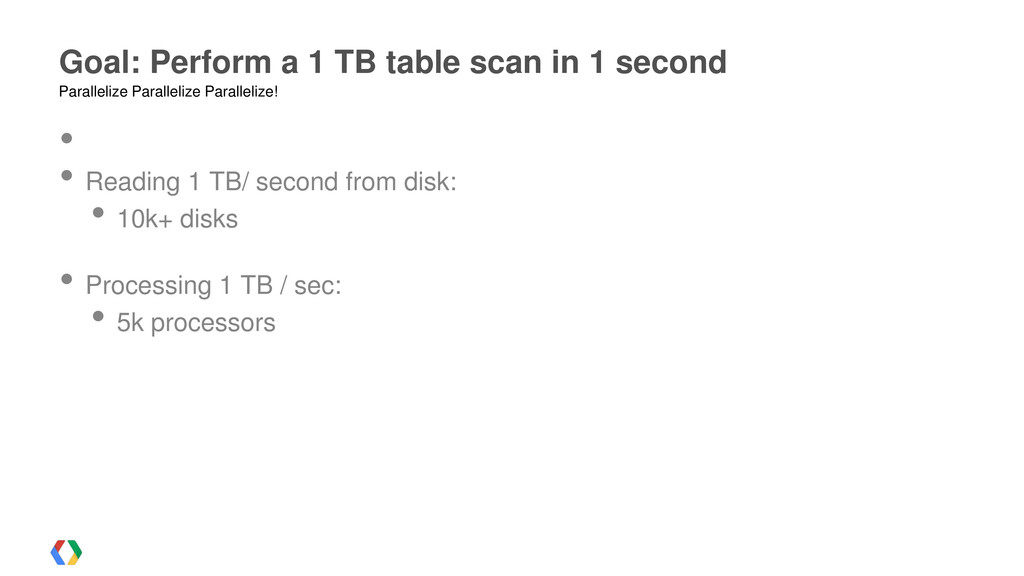 • • Reading 1 TB/ second from disk: • 10k+ disk...