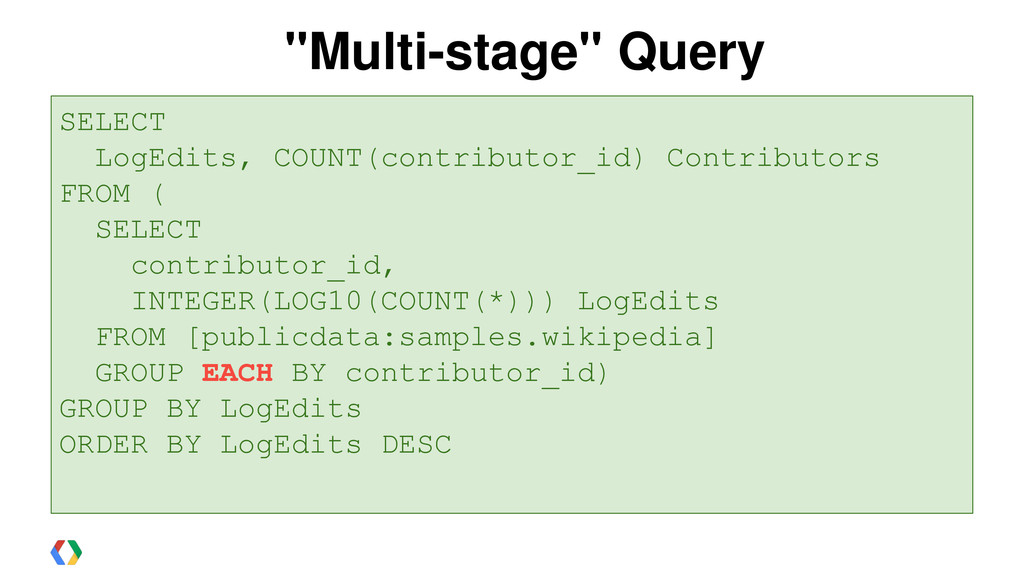 """""""Multi-stage"""" Query SELECT contributor_id, INTE..."""
