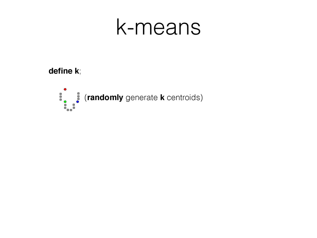 define k; (randomly generate k centroids) k-means