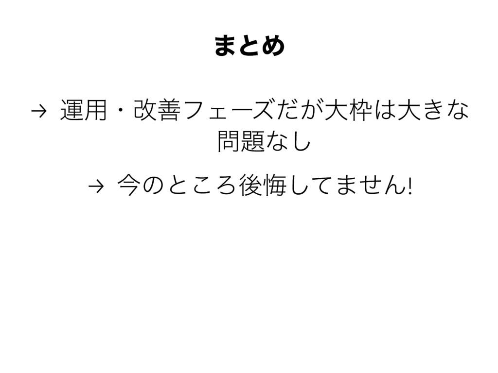 ·ͱΊ → ӡ༻ɾվળϑΣʔζ͕ͩେେ͖ͳ ͳ͠ → ࠓͷͱ͜Ζޙչͯ͠·ͤΜ!