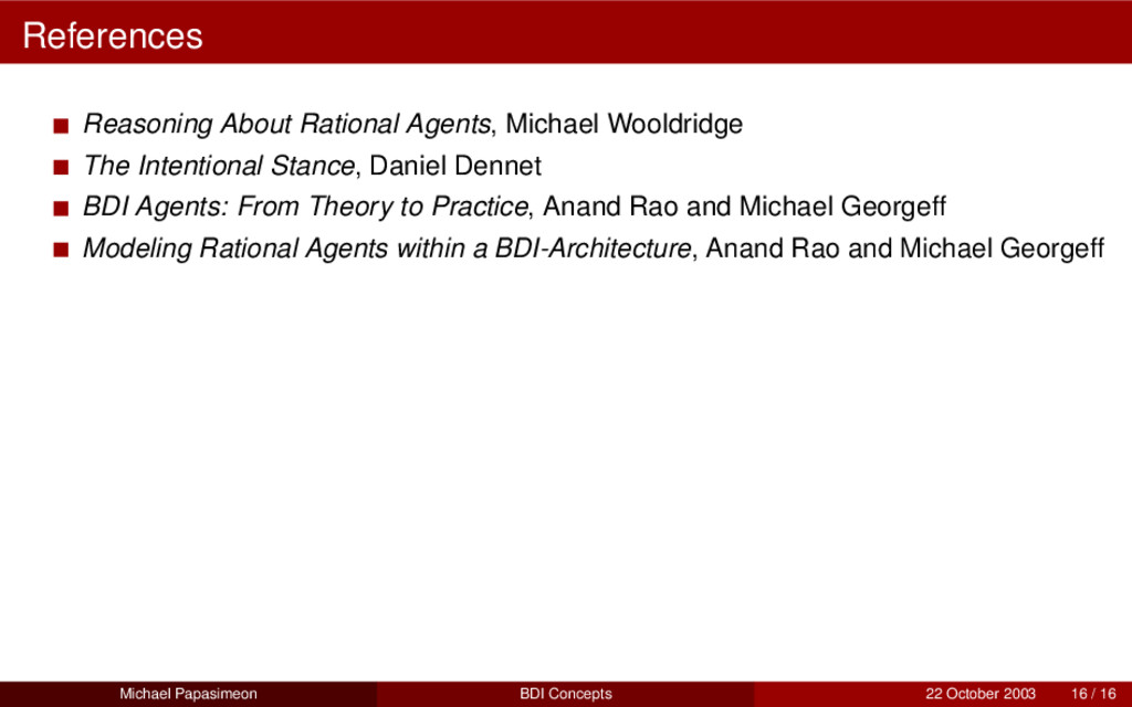 References Reasoning About Rational Agents, Mic...