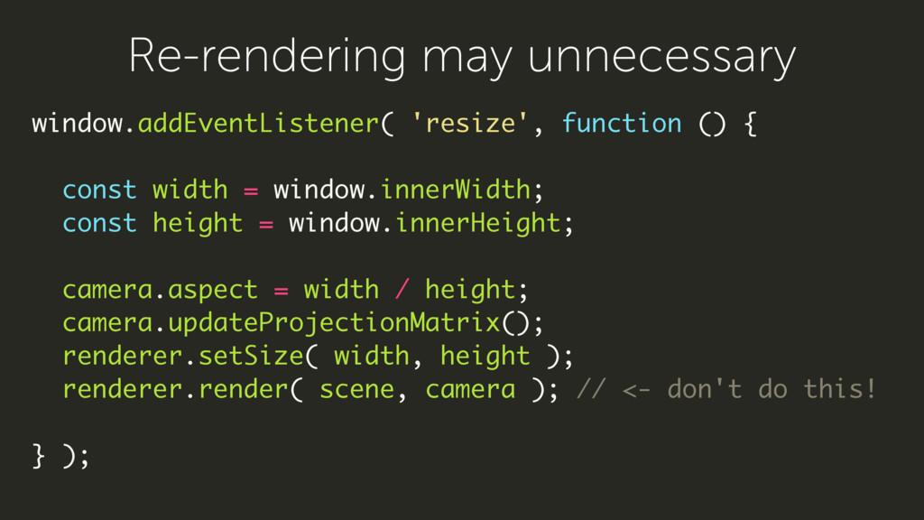 window.addEventListener( 'resize', function () ...