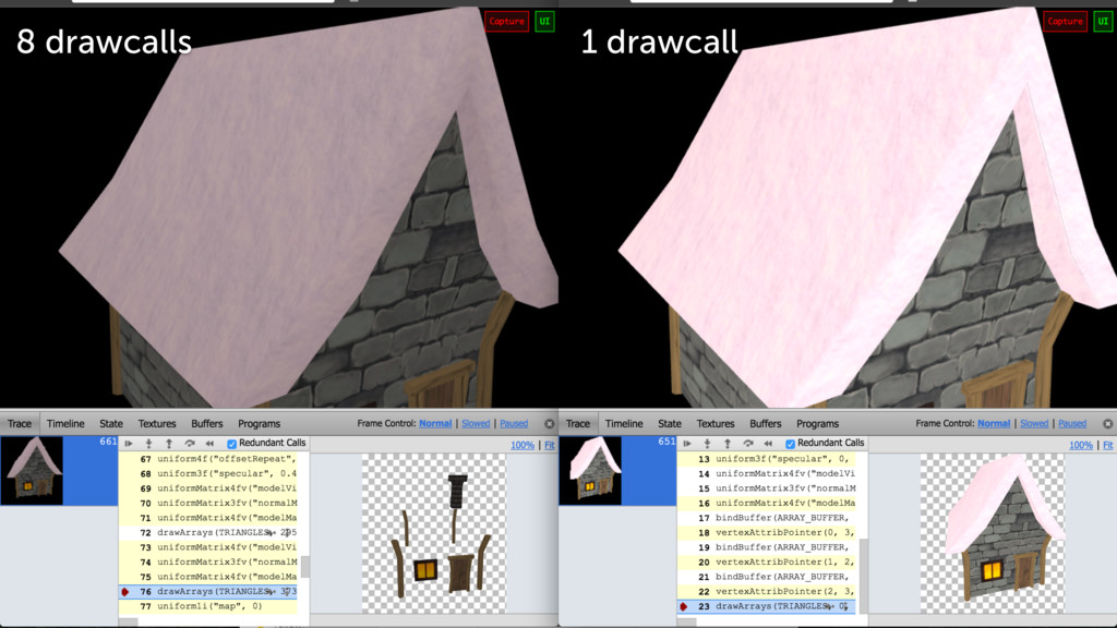 Continuously repainting Better 8 drawcalls 1 dr...