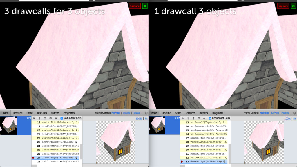 3 drawcalls for 3 objects 1 drawcall 3 objects