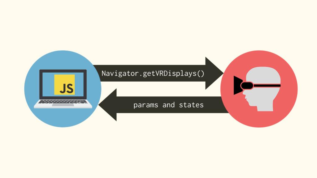 Navigator.getVRDisplays() params and states