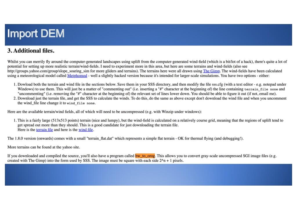 Import DEM • Add slide with orog documention