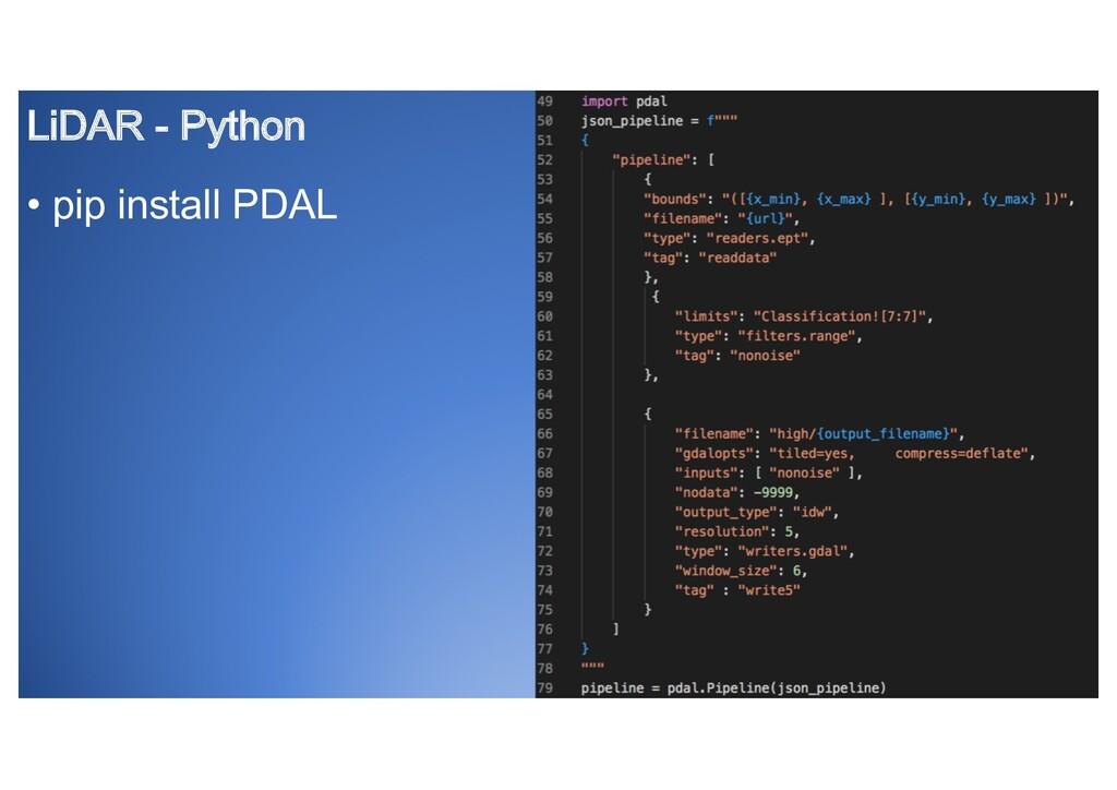 LiDAR - Python • pip install PDAL