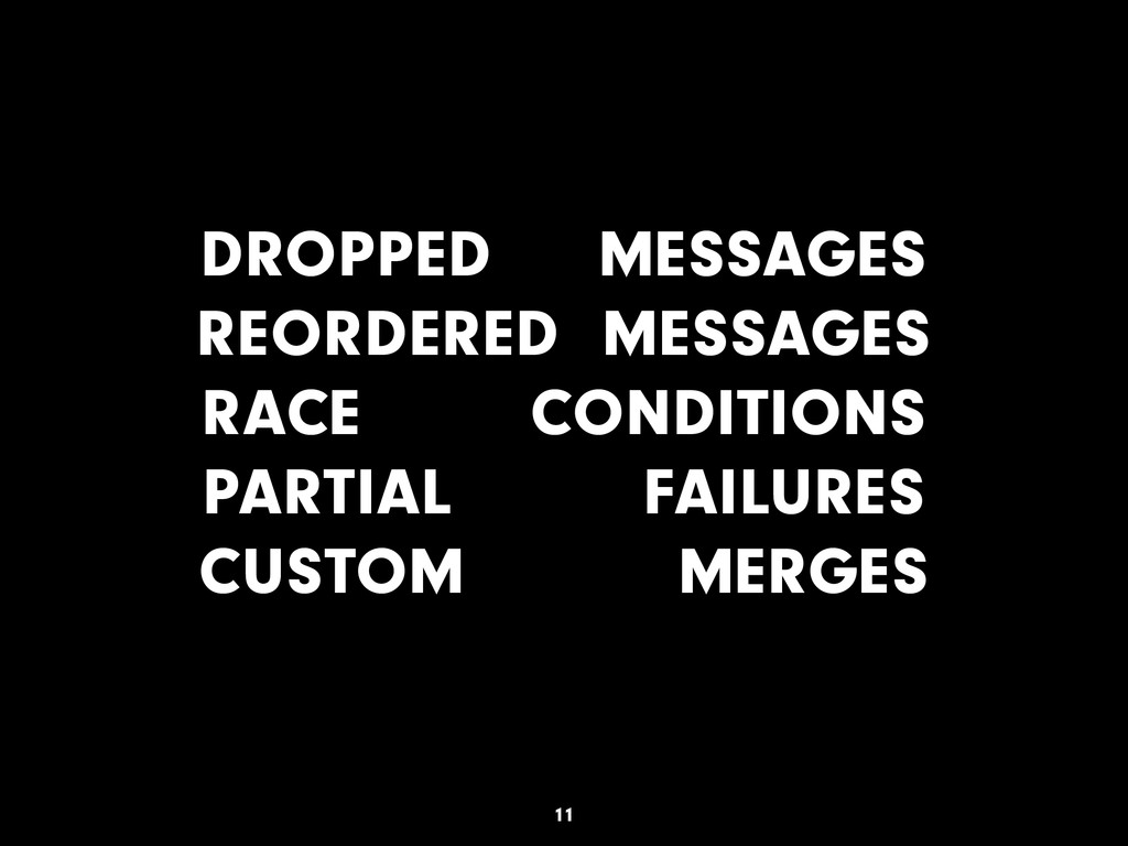 DROPPED MESSAGES REORDERED MESSAGES RACE CONDIT...