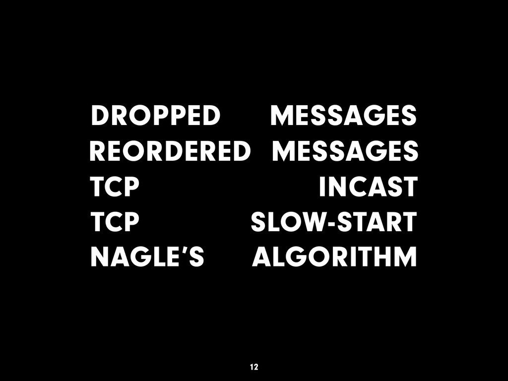 DROPPED MESSAGES REORDERED MESSAGES TCP INCAST ...