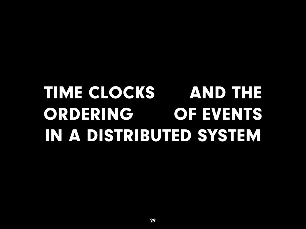 TIME CLOCKS AND THE ORDERING OF EVENTS IN A DIS...