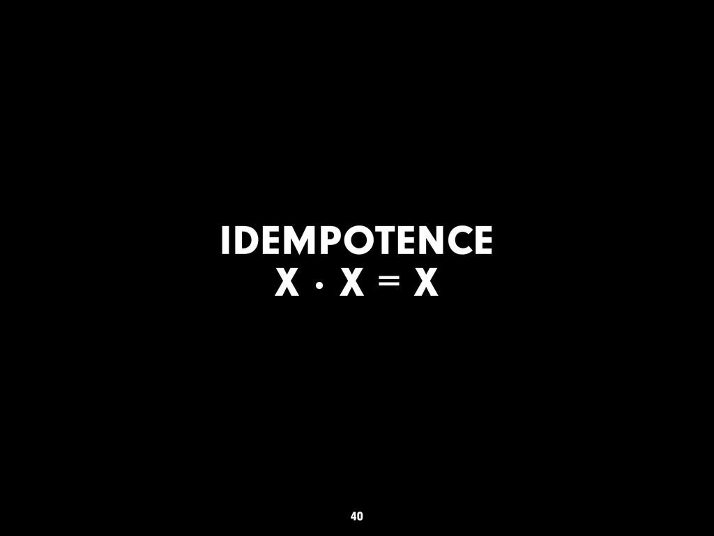 IDEMPOTENCE X · X = X 40