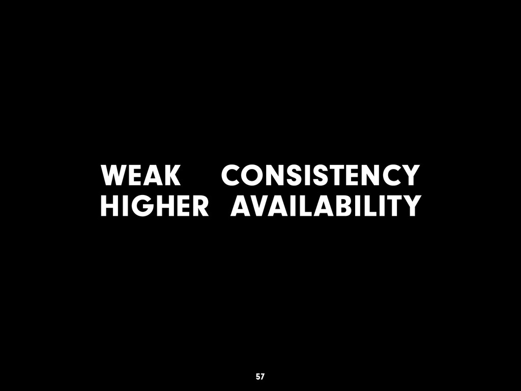 WEAK CONSISTENCY HIGHER AVAILABILITY 57