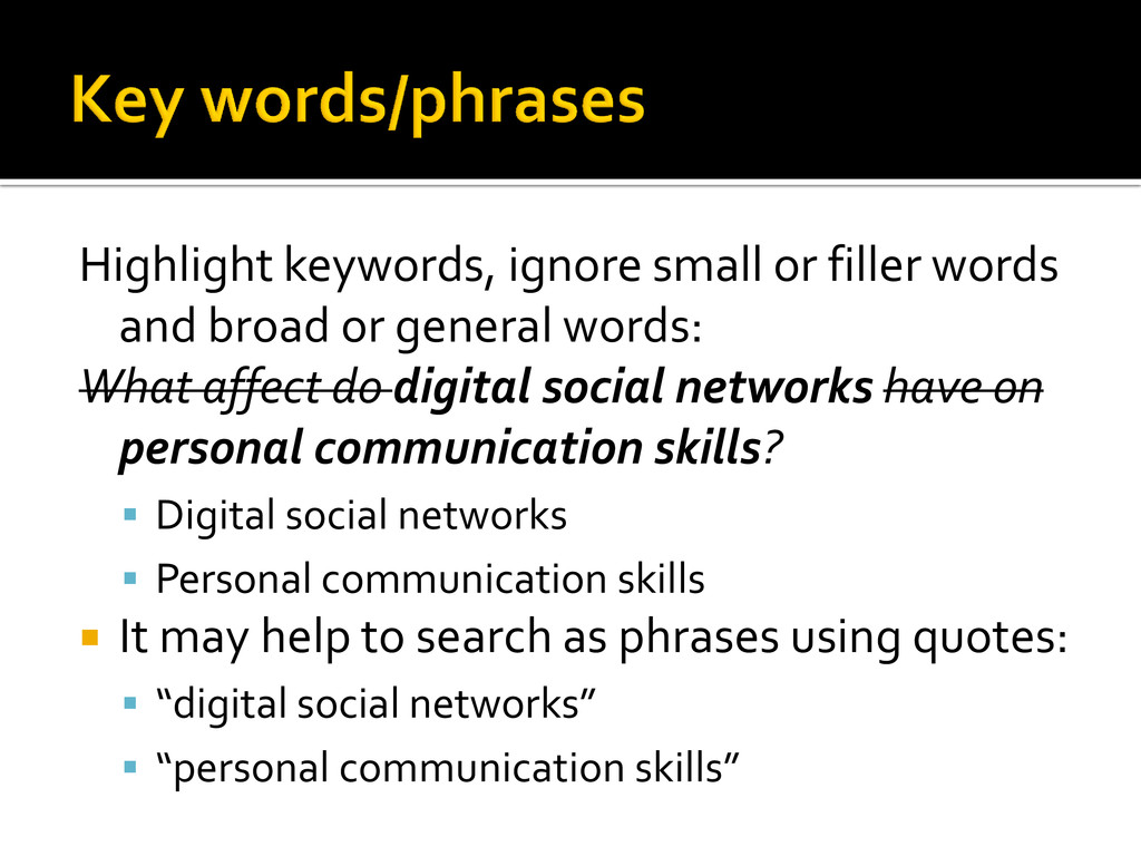 Highlight keywords, ignore small or filler word...