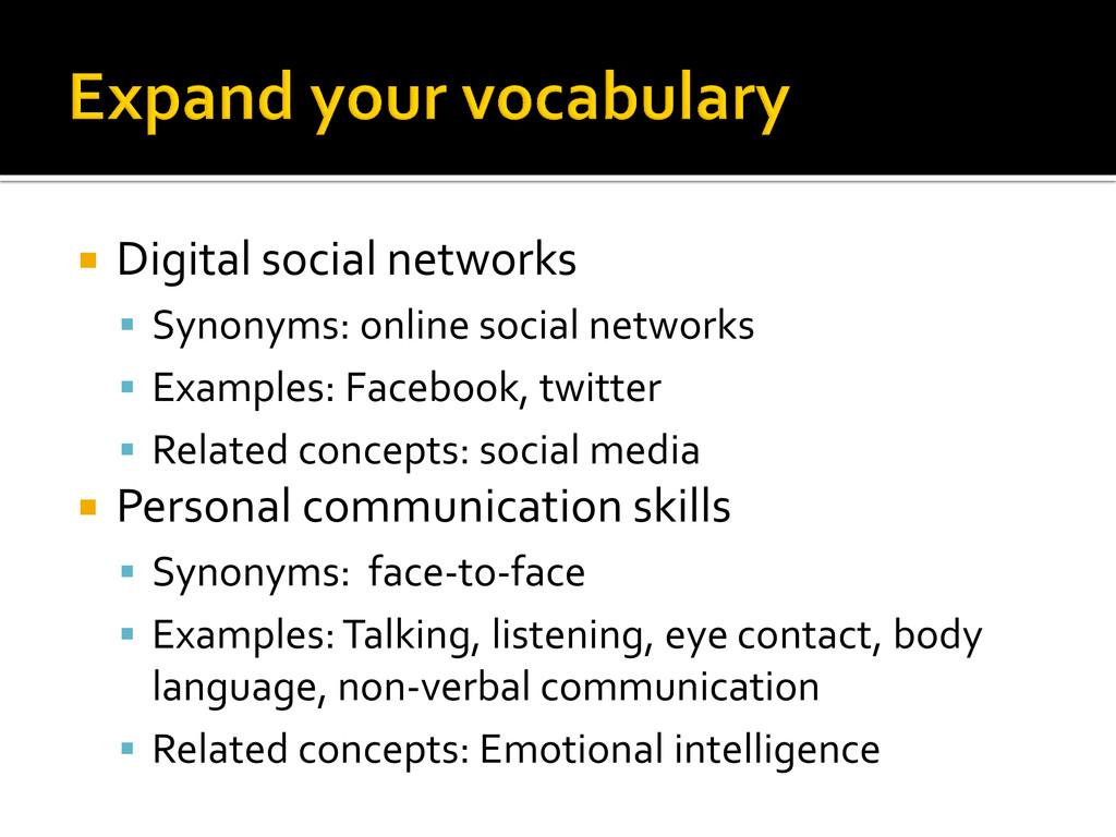  Digital social networks  Synonyms: online so...