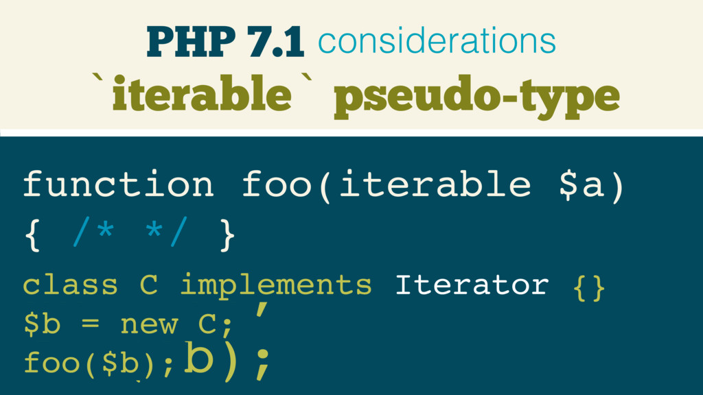`iterable` pseudo-type function foo(iterable $a...