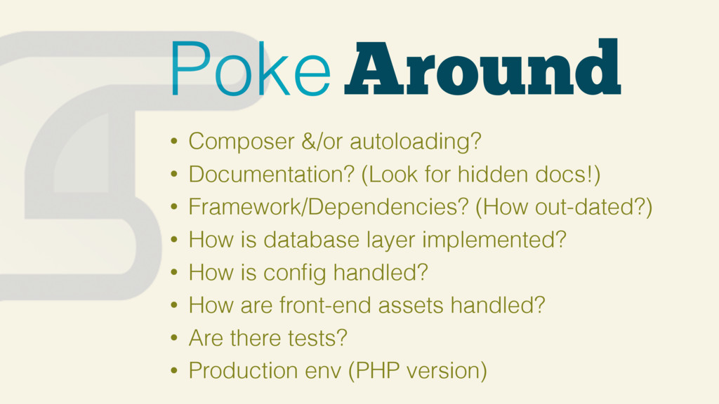 Around Poke • Composer &/or autoloading? • Docu...