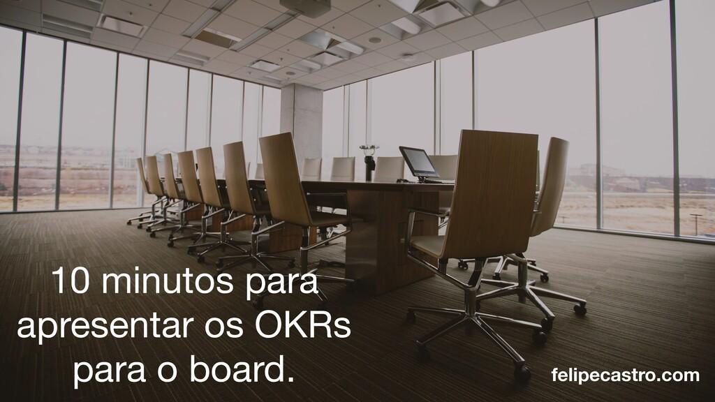 10 minutos para apresentar os OKRs para o board...