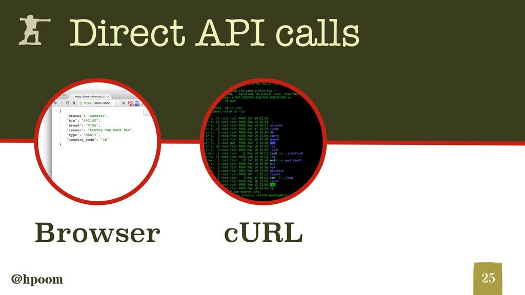 @hpoom h Direct API calls 25 Browser cURL