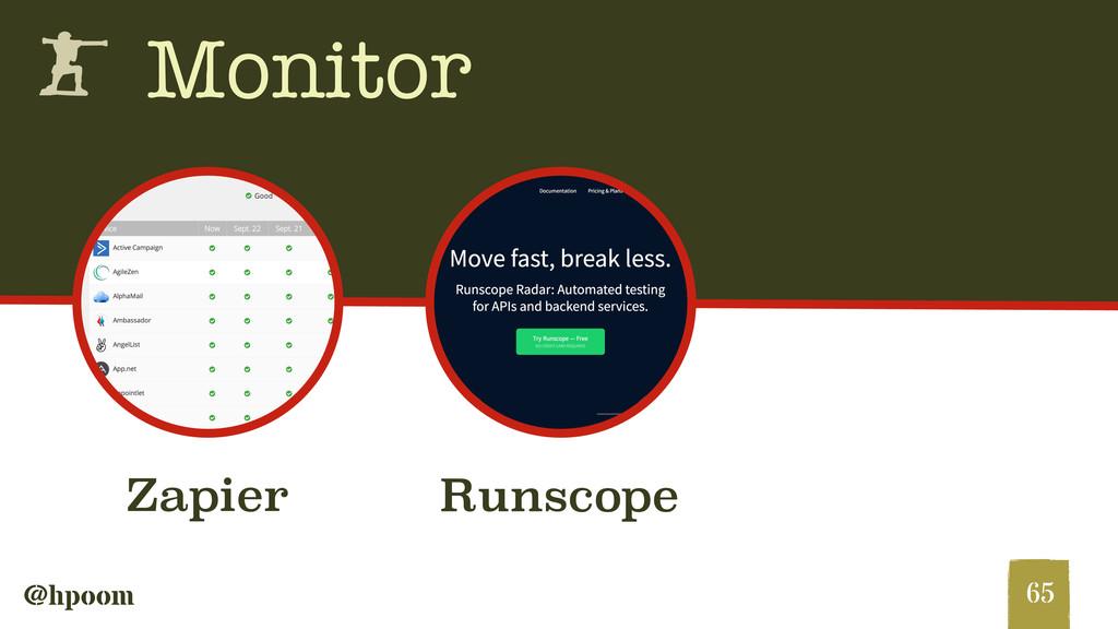 @hpoom h Monitor 65 Runscope Zapier