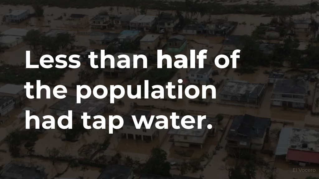 Less than half of the population had tap water....