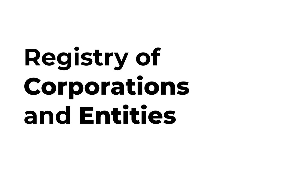 Registry of Corporations and Entities