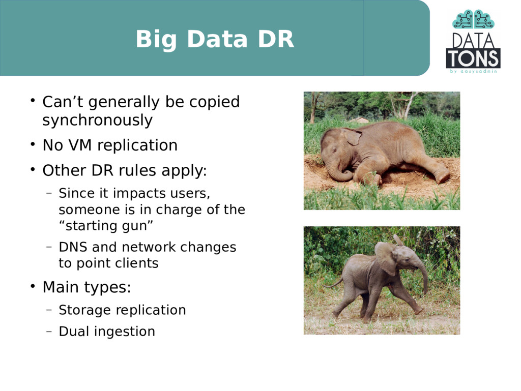 Big Data DR  Can't generally be copied synchro...