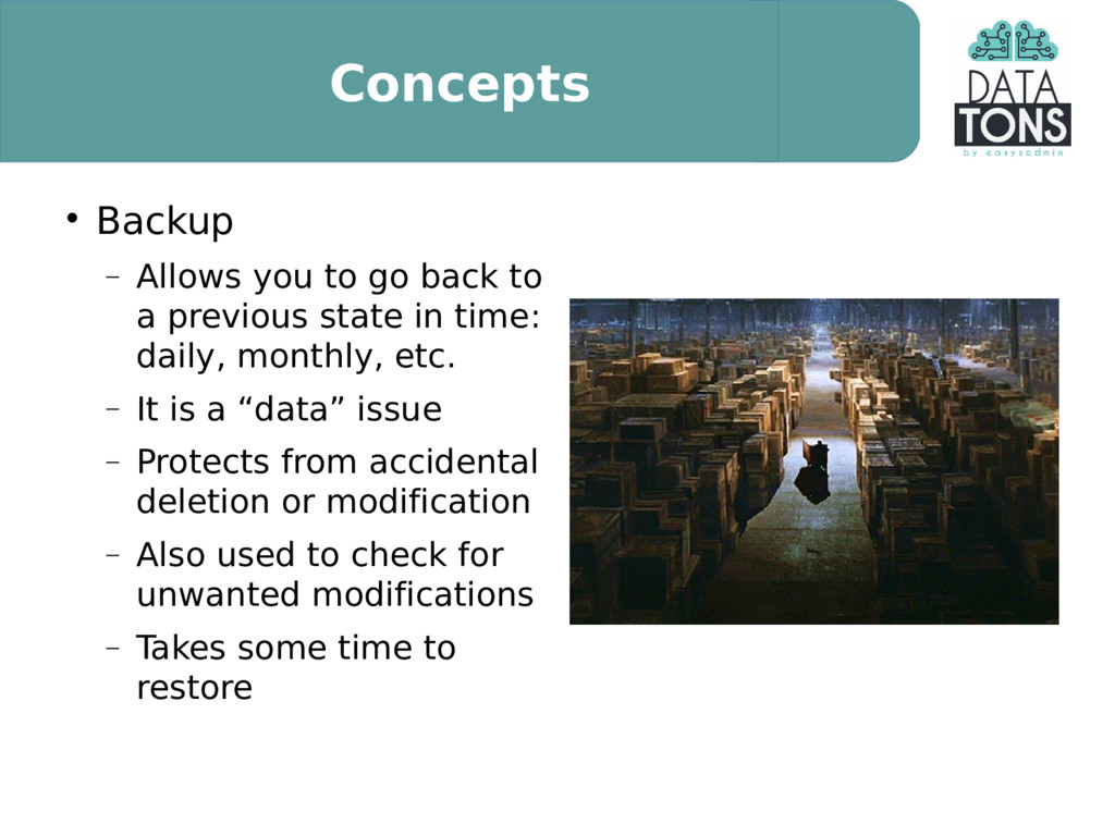 Concepts  Backup  Allows you to go back to a ...