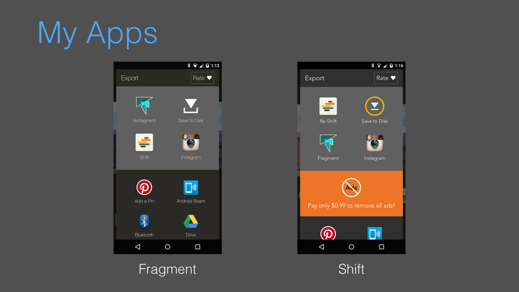 My Apps Fragment Shift