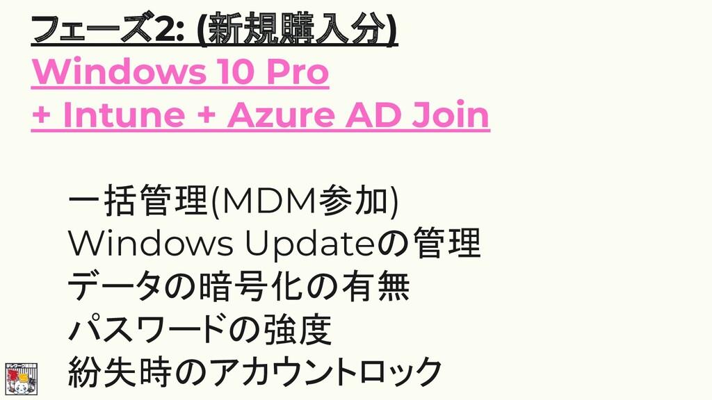 フェーズ2: (新規購入分) Windows 10 Pro + Intune + Azure ...