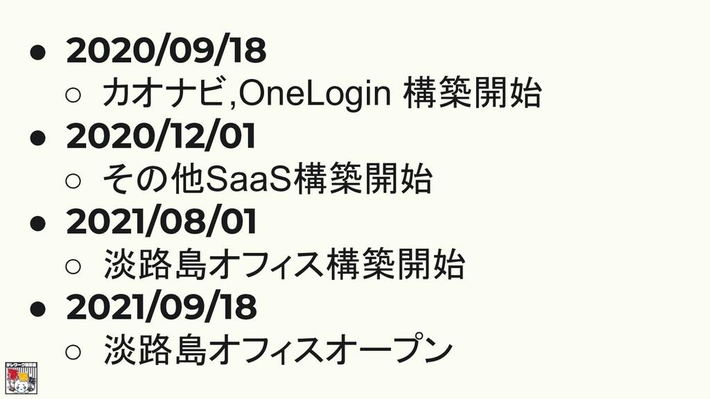 ● 2020/09/18 ○ カオナビ,OneLogin 構築開始 ● 2020/12/01 ...