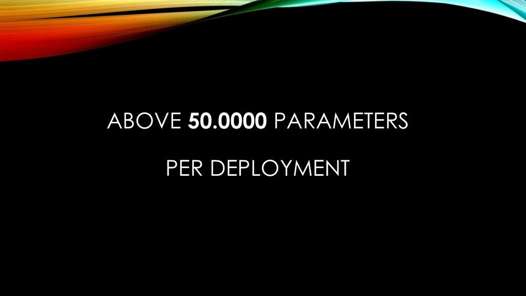 ABOVE 50.0000 PARAMETERS PER DEPLOYMENT