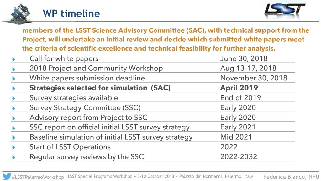 LSST Special Programs Workshop • 8-10 October 2...