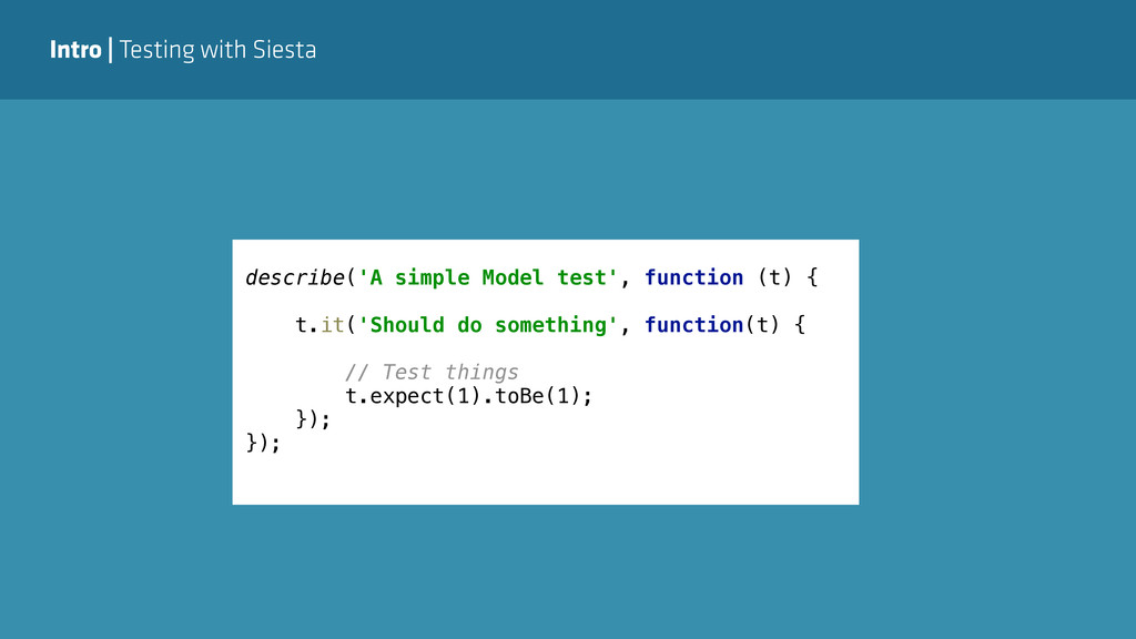 Intro | Testing with Siesta describe('A simple ...