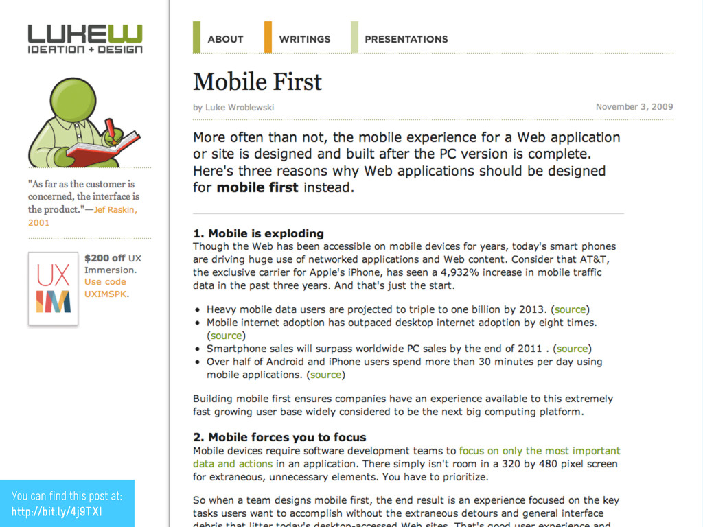 4 Wait, mobile first? You can find this post at...