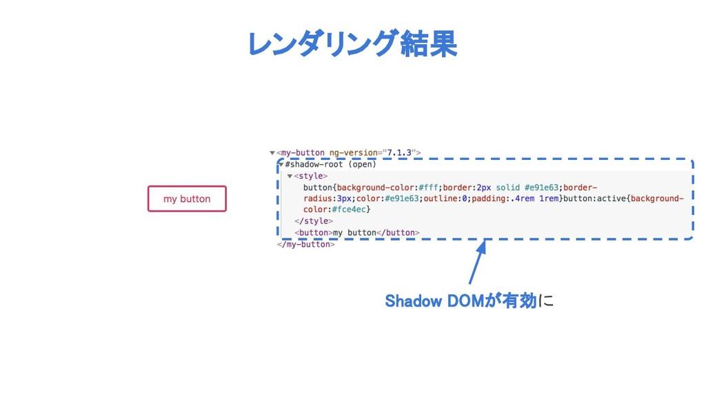 レンダリング結果 Shadow DOMが有効に