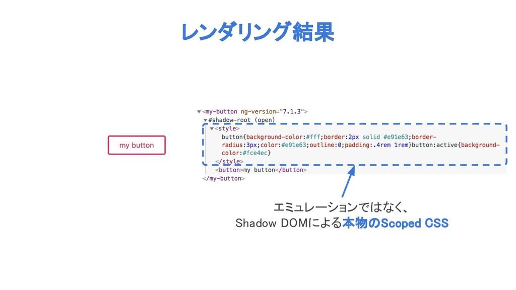 レンダリング結果 エミュレーションではなく、 Shadow DOMによる本物のScoped C...