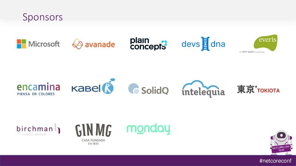 #netcoreconf Sponsors