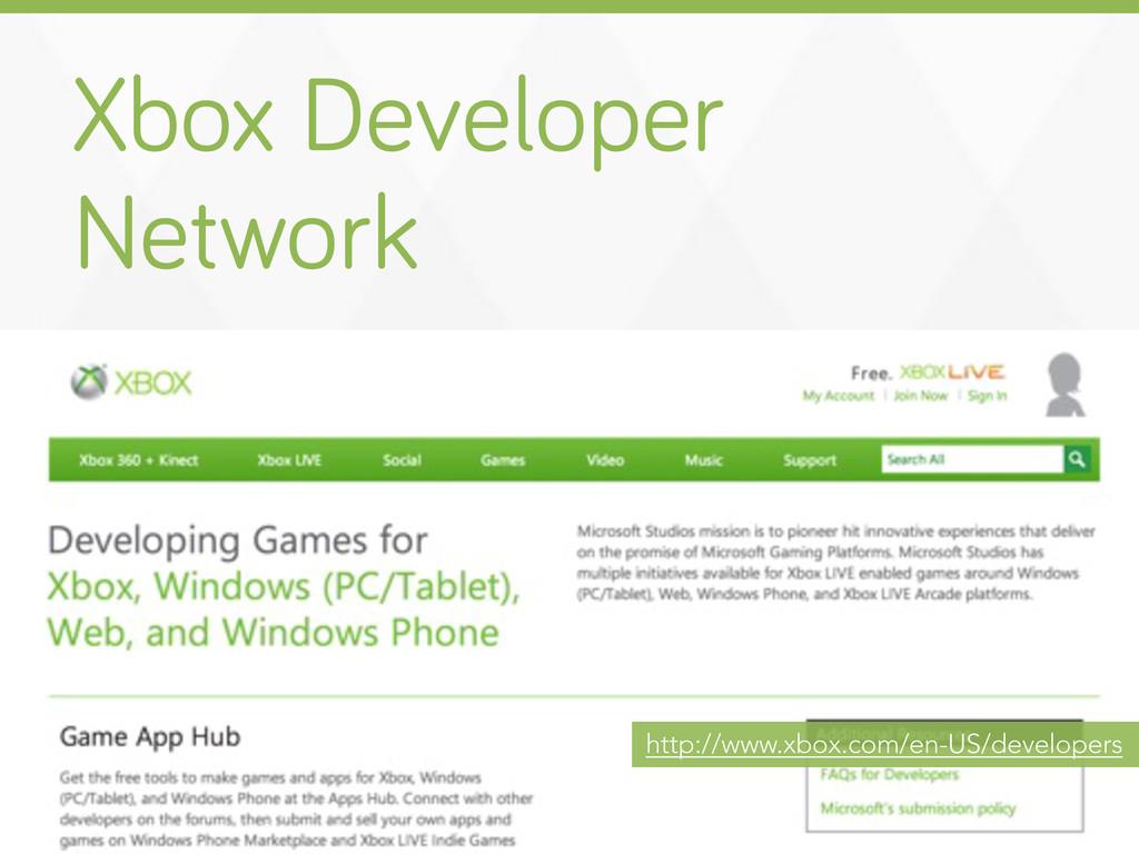 Xbox Developer Network http://www.xbox.com/en-U...