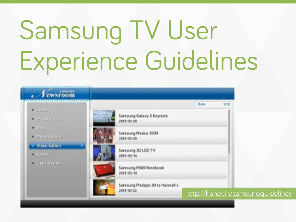 Samsun TV User Experience Guidelines http://han...