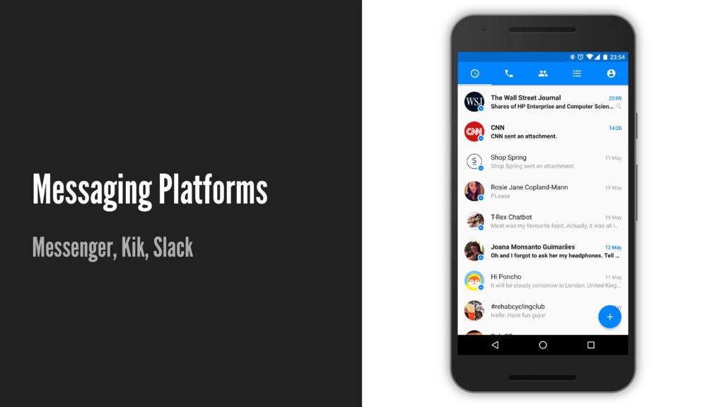 Messaging Platforms Messenger, Kik, Slack