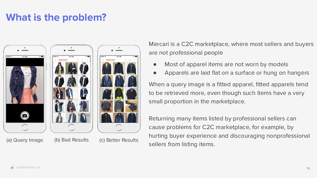 (c) 2020 Mercari, Inc. 33 What is the problem? ...