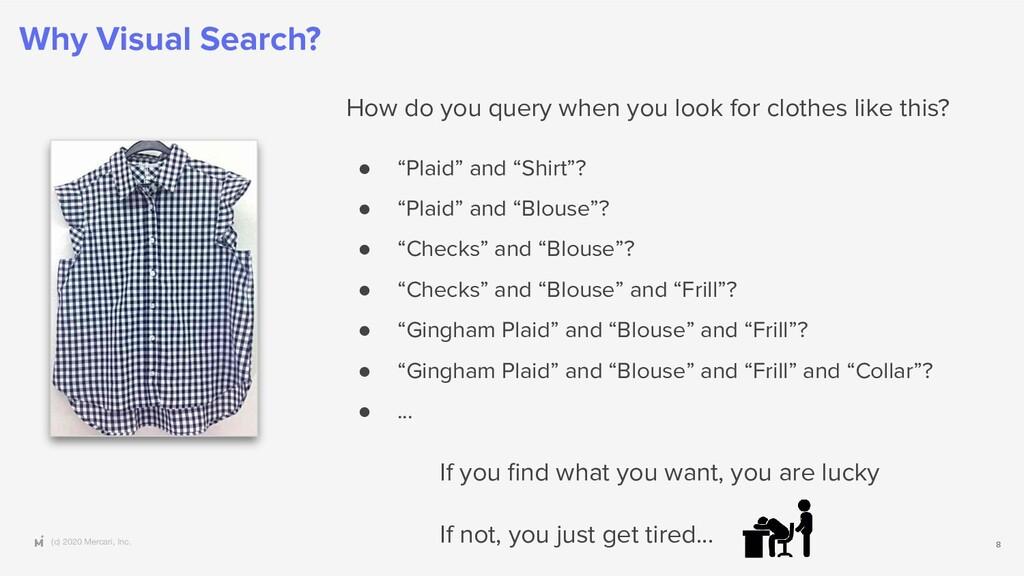 (c) 2020 Mercari, Inc. Why Visual Search? 8 How...