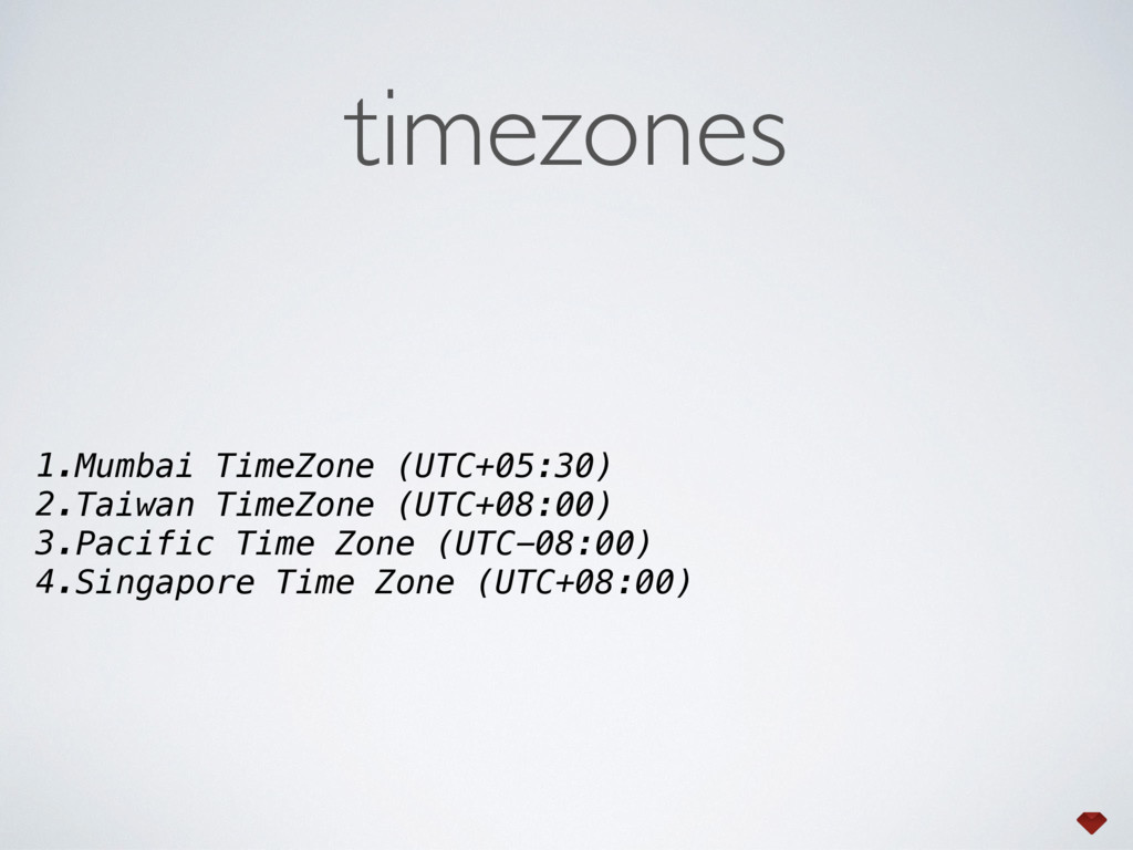 timezones 1.Mumbai TimeZone (UTC+05:30) 2.Taiwa...