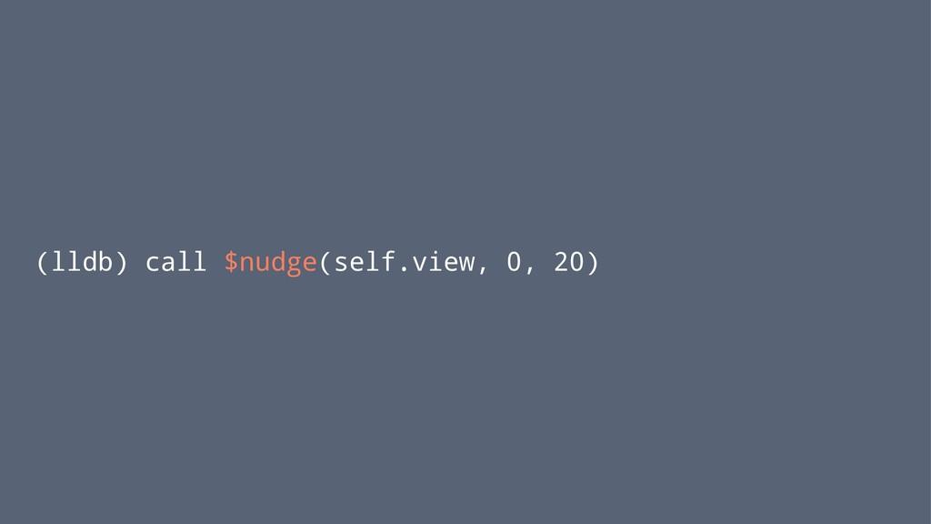 (lldb) call $nudge(self.view, 0, 20)