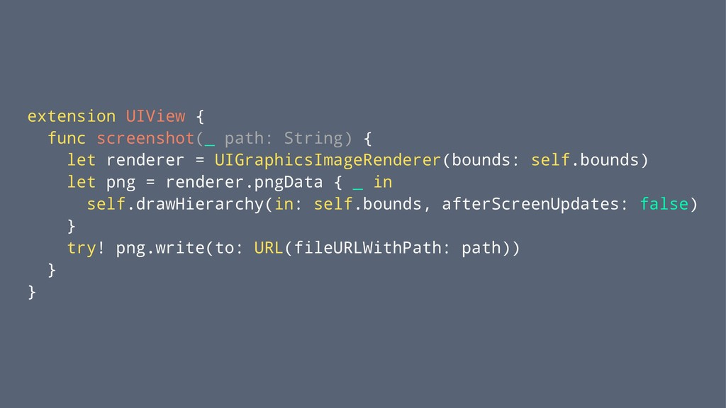 extension UIView { func screenshot(_ path: Stri...
