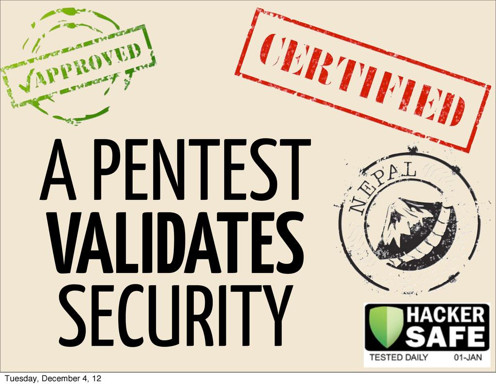 A PENTEST VALIDATES SECURITY Tuesday, December ...