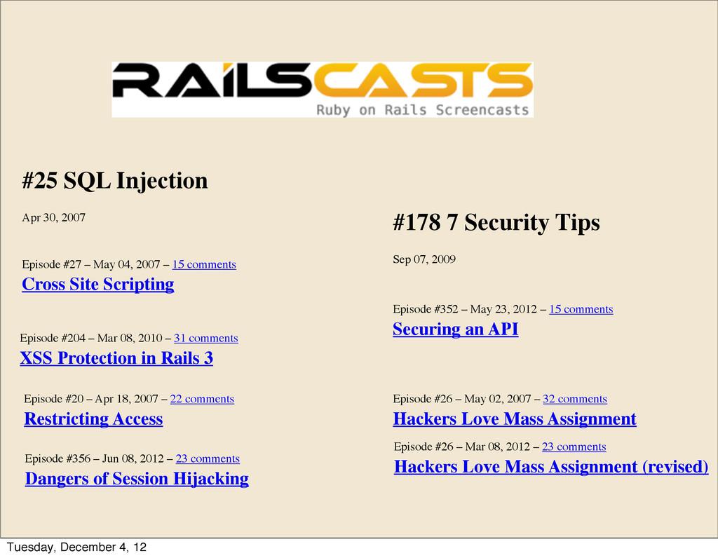 #25 SQL Injection Apr 30, 2007 Episode #204 – M...