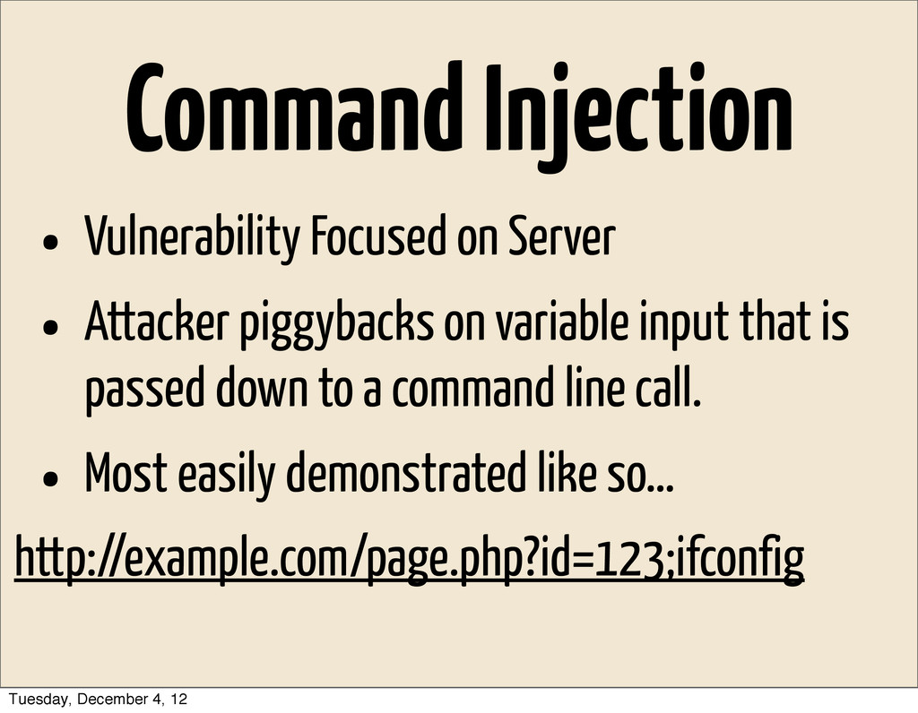 Command Injection • Vulnerability Focused on Se...