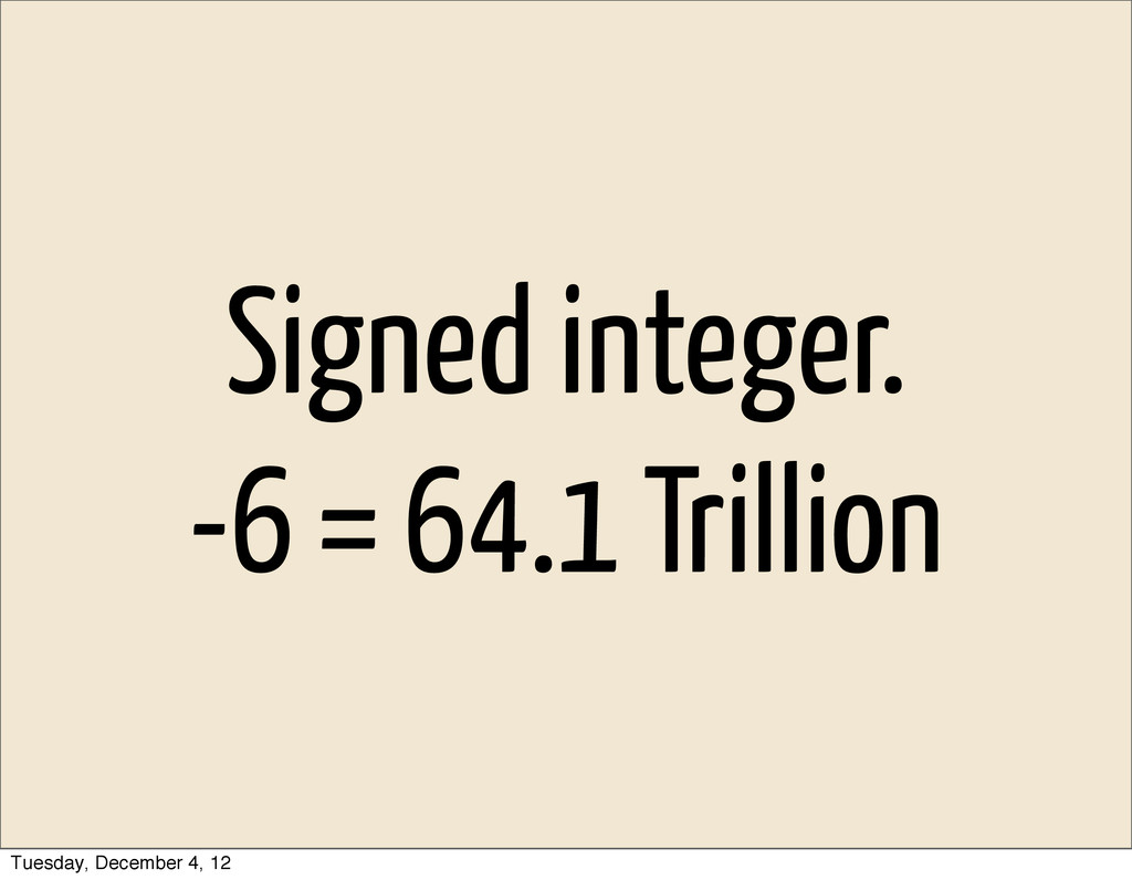 Signed integer. -6 = 64.1 Trillion Tuesday, Dec...