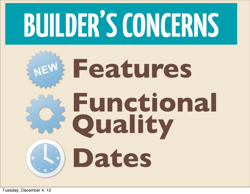 BUILDER'S CONCERNS Dates Features Functional Qu...